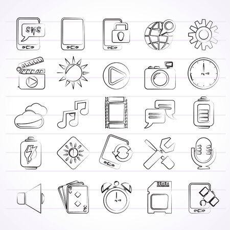 llave de sol: Iconos de la interfaz de teléfono móvil - Vector Icon Set