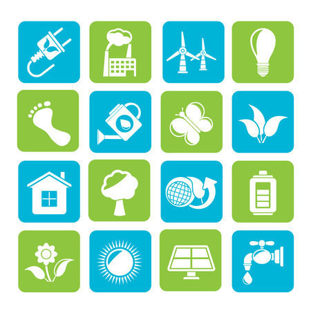 green environment: Silhouette Green, Ecology and environment icons  Illustration