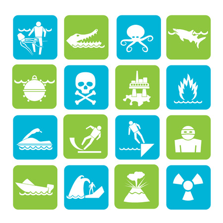poison sea transport: Silhouette Warning Signs for dangers in sea, ocean, beach and rivers