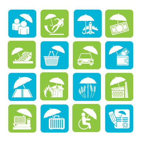 Silhouette insurance, risk and business icons  Vector