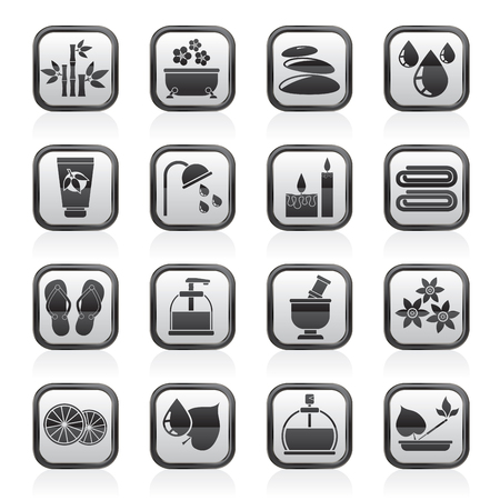 massage therapist: Spa and relax objects icons - vector icon set Illustration
