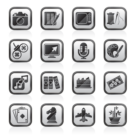 hobbies: Hobbies and leisure Icons - vector icon set