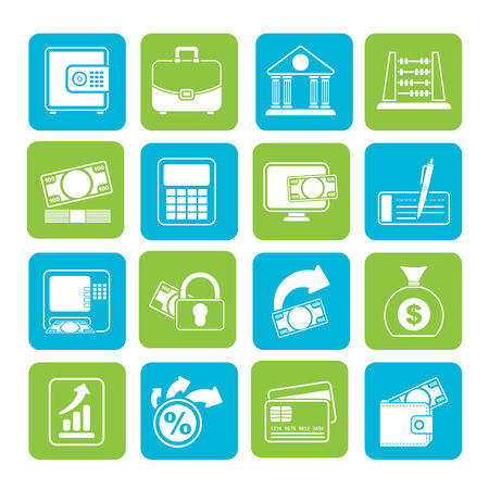 Silhouette Bank, business and finance icons Vector