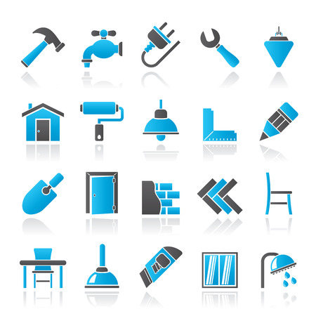 dyeing: Building and home renovation icons - vector icon set Illustration