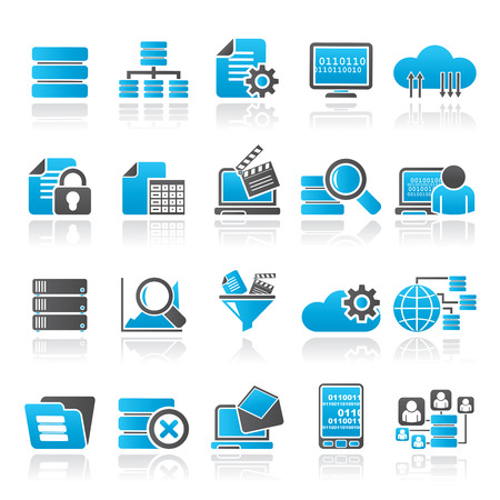 global settings: data and analytics icons - vector icon set Illustration