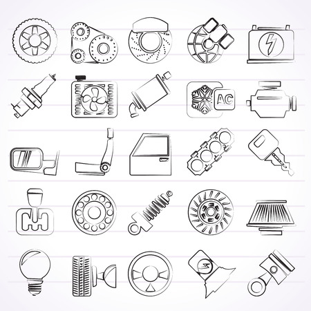 gearbox: Car parts and services icons - vector icon set