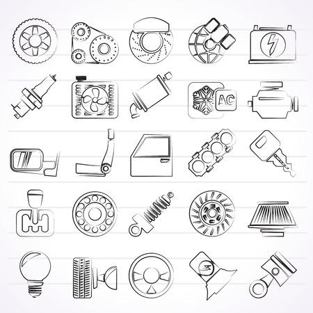 alternateur: Pièces et services automobiles icônes - vecteur icon set