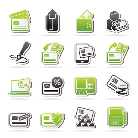 cardholder: credit card, POS terminal and ATM icons - vector icon set