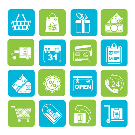 bankcard: Silhouette Online shop icons - vector icon set
