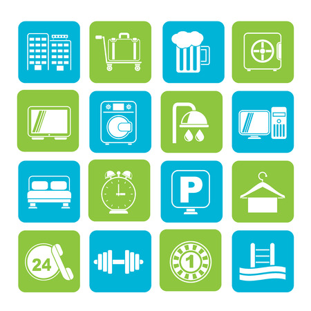 closet communication: Silhouette Hotel and motel icons - Vector icon Set