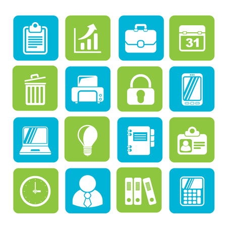 padlock icon: Silhouette Business and office icons - vector icon set