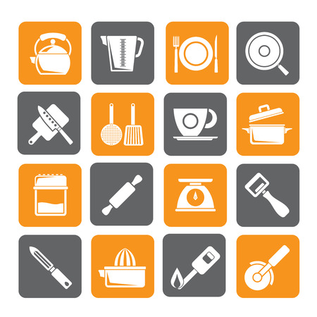 trencher: Silhouette kitchen gadgets and equipment icons - vector icon set Illustration