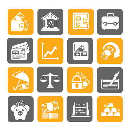 bankcard: Silhouette Business, finance and bank icons - vector icon set