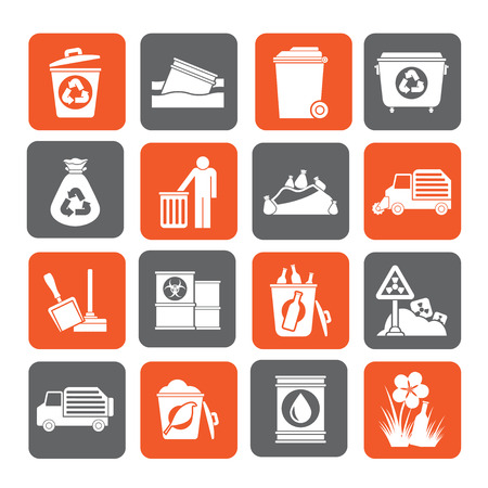 trashing: Silhouette Garbage and rubbish icons - vector icon set