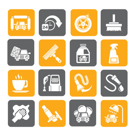stop hand silhouette: Silhouette car wash objects and icons - vector icon set Illustration