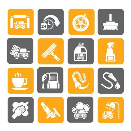 autolavaggio: Silhouette oggetti autolavaggio e icone - vector icon set