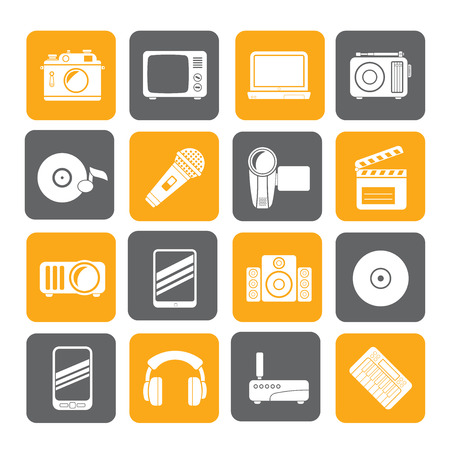 Silhouette Media and technology icons - vector icon set Vector