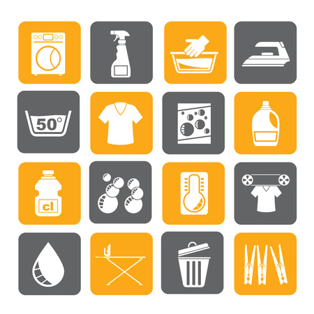 basin: Silhouette Washing machine and laundry icons - vector icon set Illustration