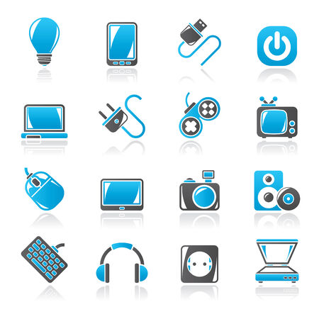 power plug: Electronic Devices objects icons - vector icon set, Created For Print, Mobile and Web  Applications Illustration