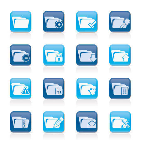 Different kind of folder icons - vector icon set Çizim