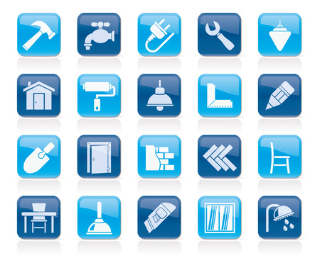 Building and home renovation icons - vector icon set Illustration