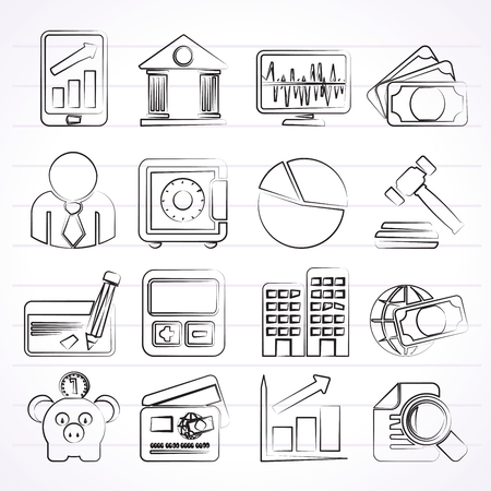 bank office: Business, finance and bank icons - vector icon set Illustration