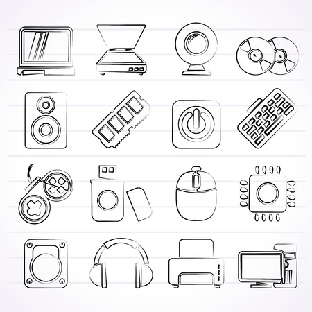 harddisk: Computer Parts and Devices icons - vector icon set