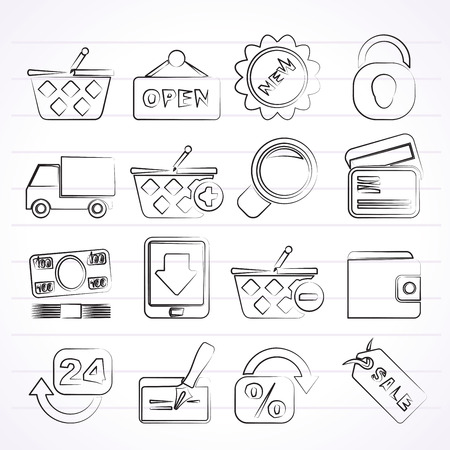 pocket book: shopping and retail icons - vector icon set