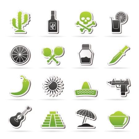 castanets: Mexico and Mexican culture icons - vector icon set Illustration