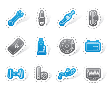 sparking plug: Car Parts and Services icons Illustration