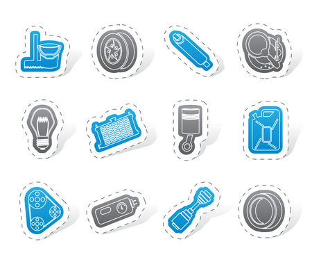 gas radiator: Car Parts and Services icons Illustration