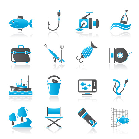 harpoon: Fishing industry icons - vector icon set, Created For Print, Mobile and Web  Applications Illustration