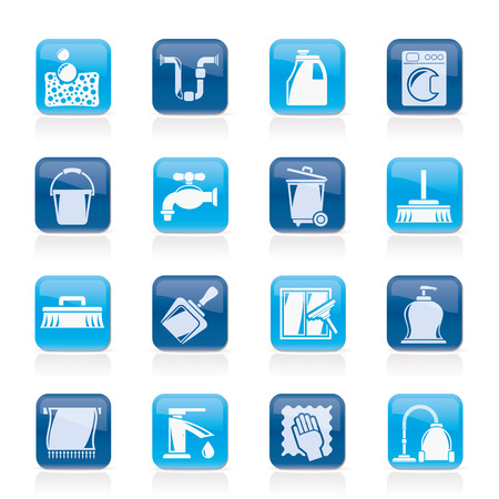 cleaning cloth: Cleaning and hygiene icons - vector icon set, Created For Print, Mobile and Web  Applications