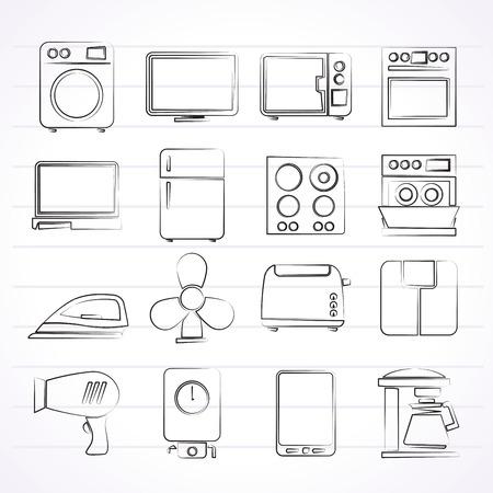 home appliance icons - vector icon set Vectores