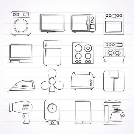 home appliance icons - vector icon set Illustration