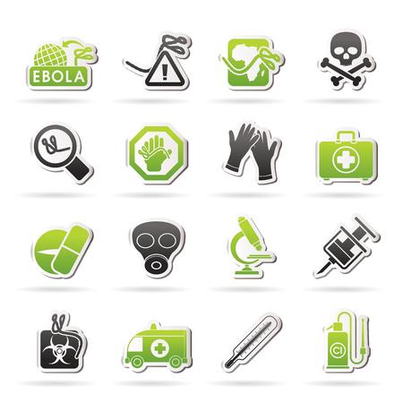 pandemic: Ebola pandemic icons - vector icon set