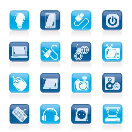 electronic devices: Electronic Devices objects icons - vector icon set