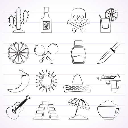 Mexico and Mexican culture icons - vector icon set Vector