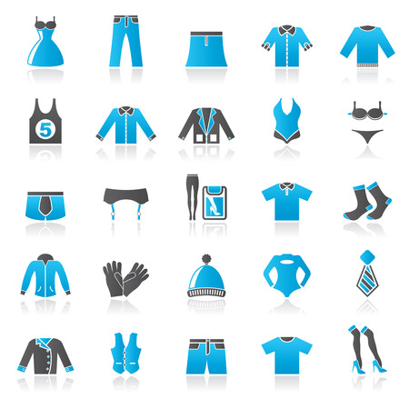 Clothing and Fashion collection icons - vector icon set Illustration