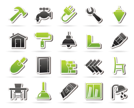 Building and home renovation icons - vector icon set Vettoriali