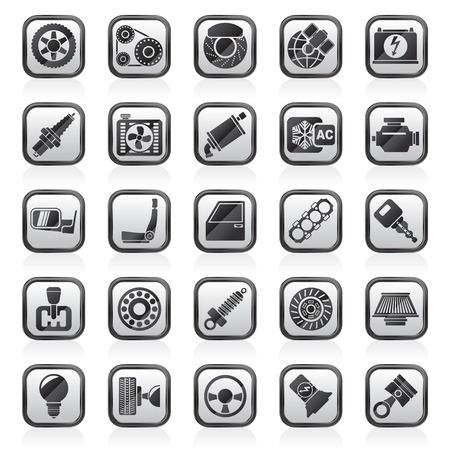 parts: Car parts and services icons - vector icon set
