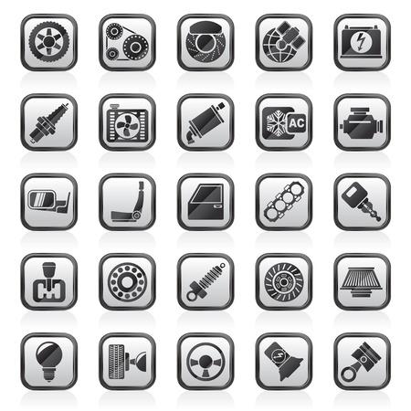 piezas coche: Piezas y servicios de coches iconos - Vector Icon Set Vectores
