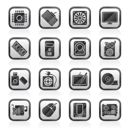 dvd room: Computer part icons - vector icon set Illustration