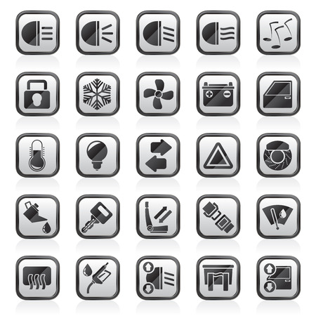 windshield wiper: Car interface sign and icons - vector icon set Illustration