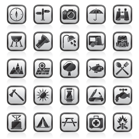 medical shower: Camping and tourism icons - vector icon set