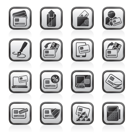 pocket book: credit card, POS terminal and ATM icons - vector icon set
