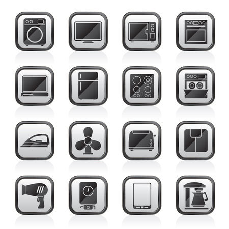 iron fan: home appliance icons - vector icon set Illustration