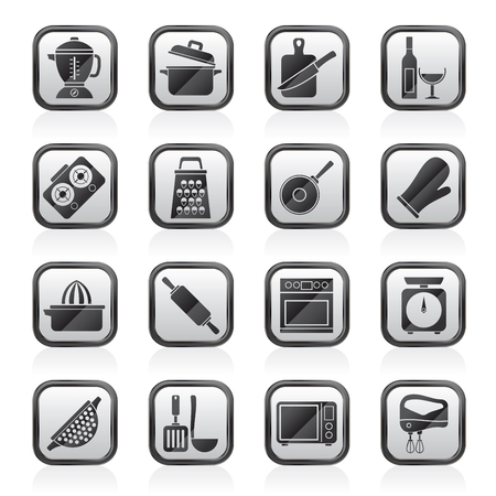 food processor: cooking tools icons - vector icon set