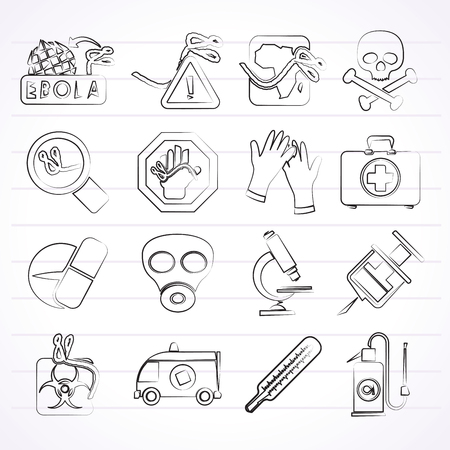 ebola: Ebola pandemic icons - vector icon set
