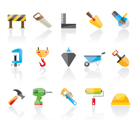 hoisting: Construction industry and Tools  icons - vector icon set